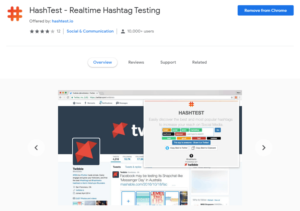 Chrome extensions for Social Media: HasTest