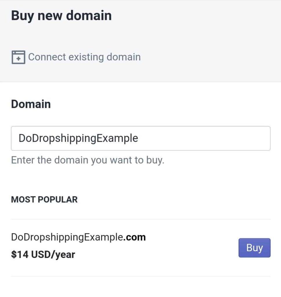 Buy new domain in Shopify mobile app
