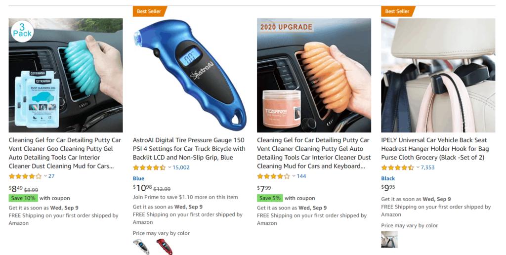 Car products dropshipping niche idea