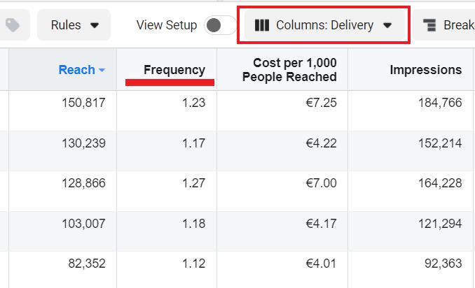 Facebook delivery metric column