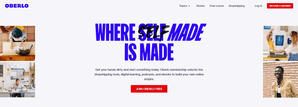 Homepage of Oberlo