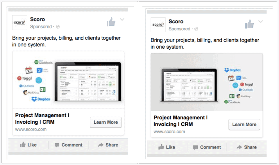 Small changes to Facebook Ad example