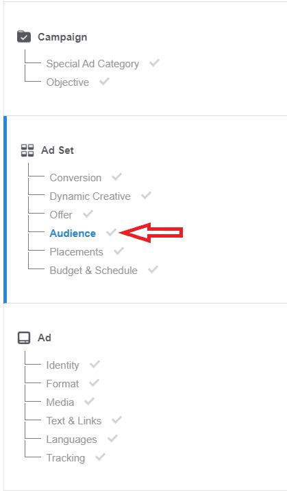Facebook ad set setup audience