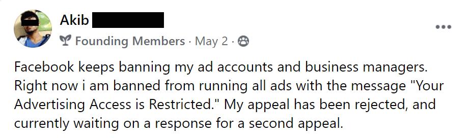 Facebook business manager bans