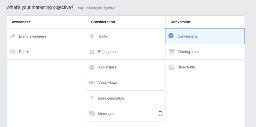 Facebook marketing objective options