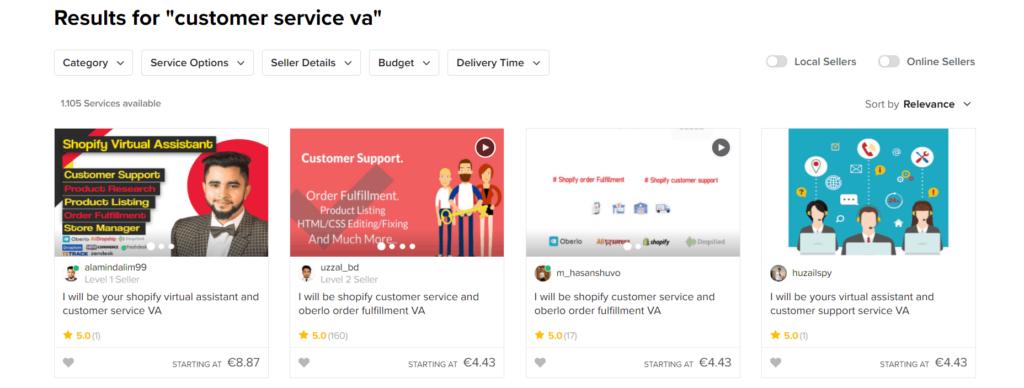 Fiverr results for customer service va