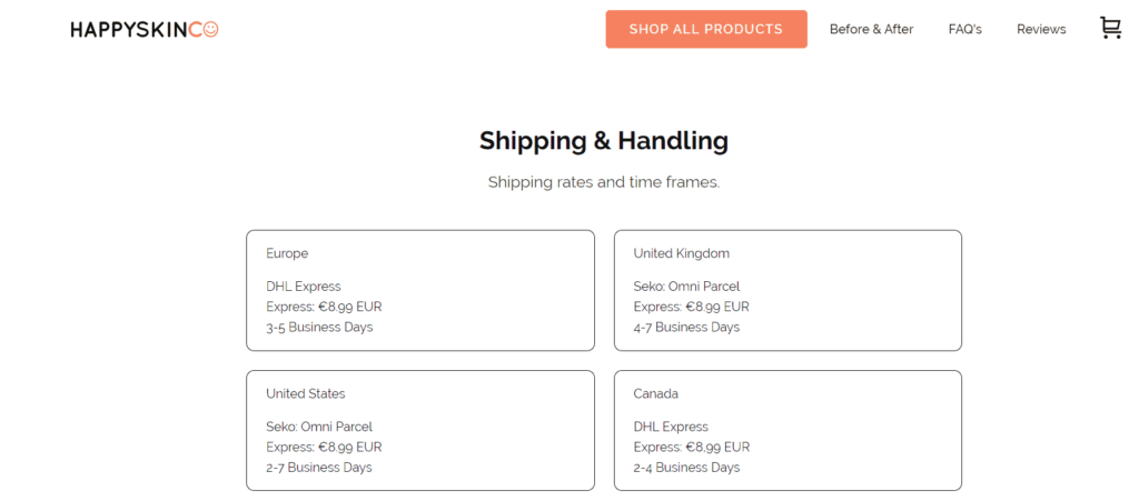 HappySkinCo Shipping and Handling page