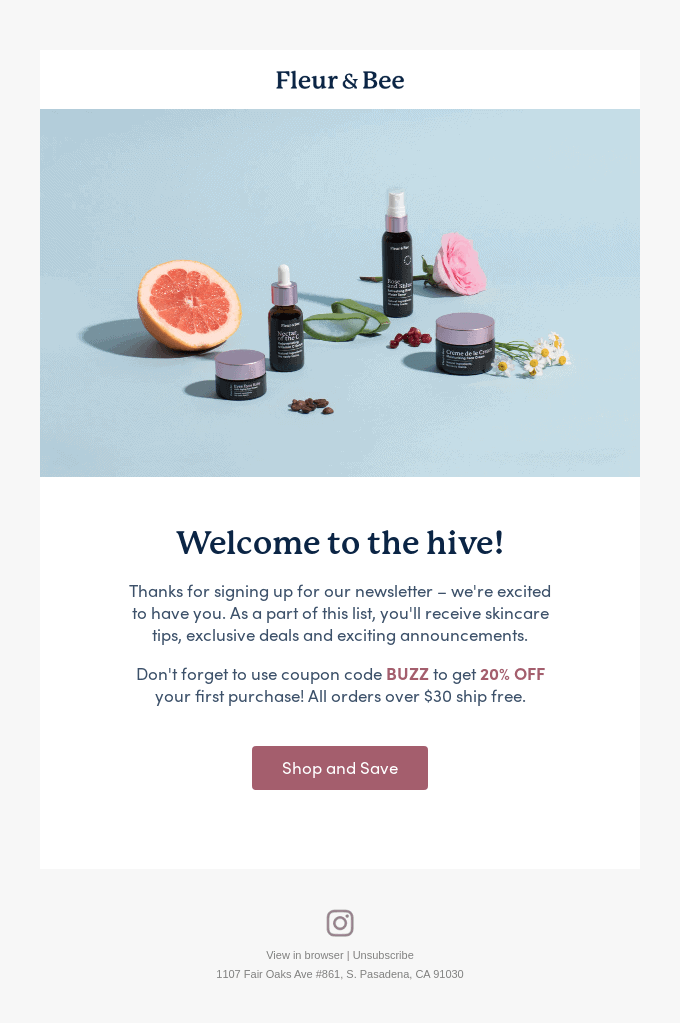 fleur & bee welcome email