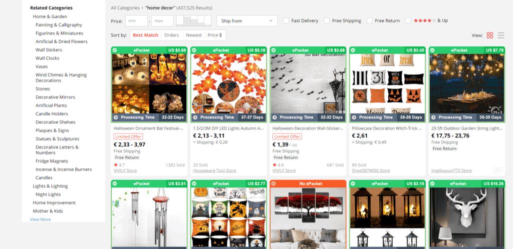 Home decor products dropshipping niche idea