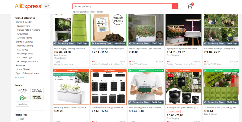 Indoor gardening dropshipping niche idea