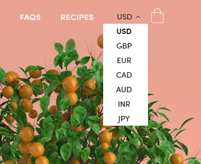 Currency converter example on a Shopify store