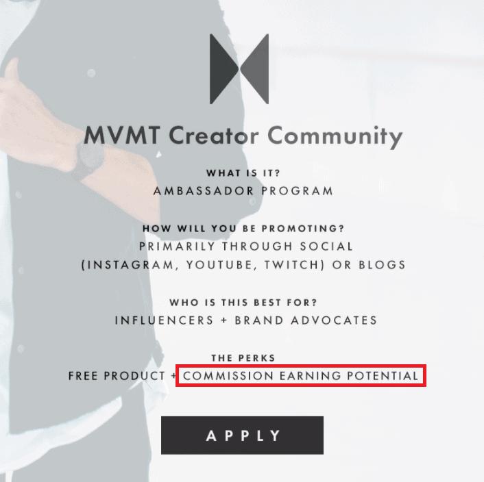 MVMT ambassador program affiliate marketing shoutouts