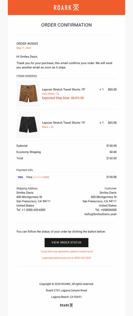 roark email confirmation order receipt