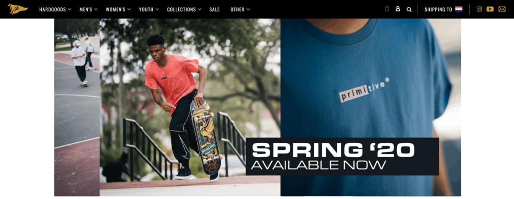 Skateboarding dropshipping store example