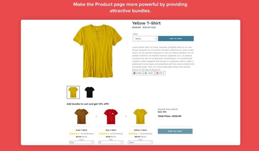 Product discounted bundle visualization