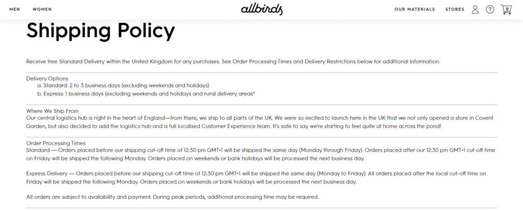 Allbirds dropshipping shipping policy