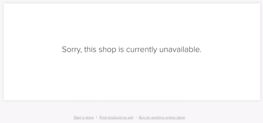 Shopify Closed Store