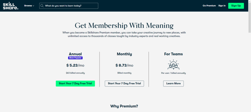 This is Skillshare's pricing page