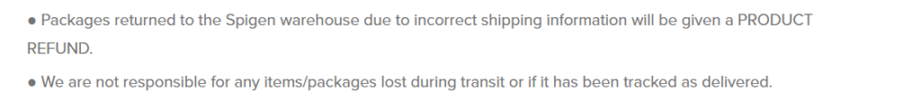 Spigen lost or missing packages policy in shipping policy