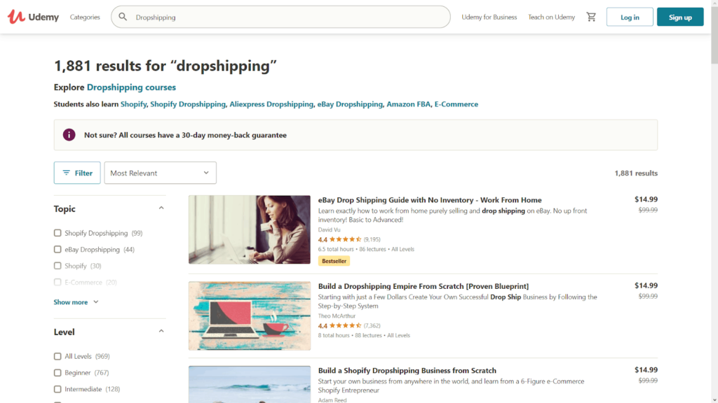 This is a Udemy Dropshipping course list page
