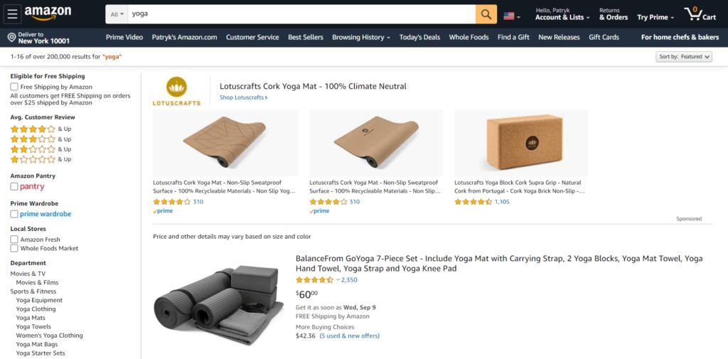 Yoga products Amazon