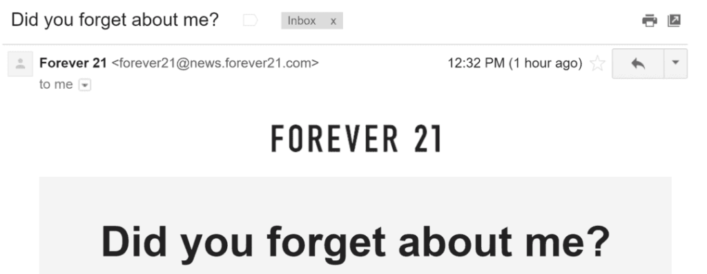 Forever 21 cart abandonment email subject line