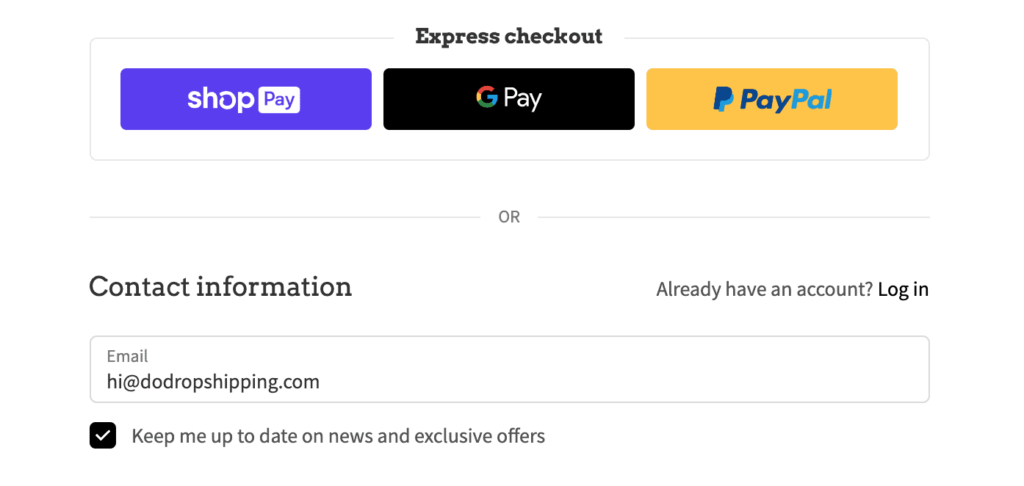 Shopify email address for checkout