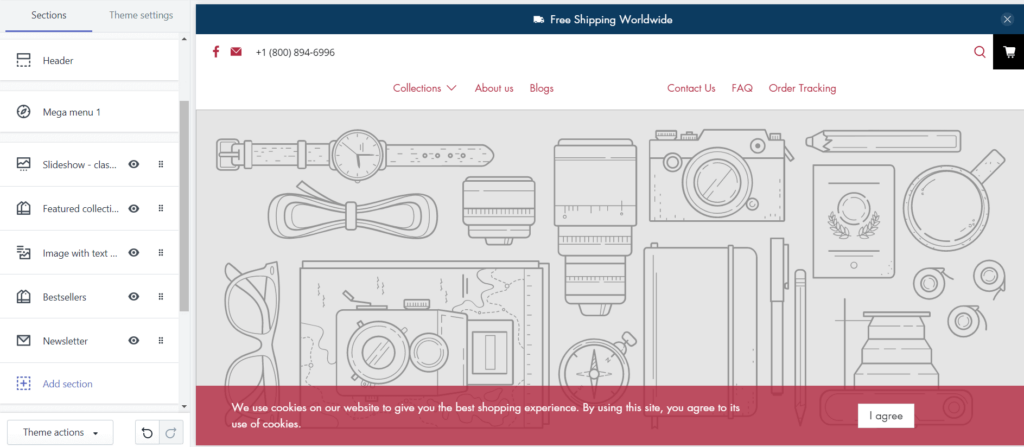 Shopify store builder interface