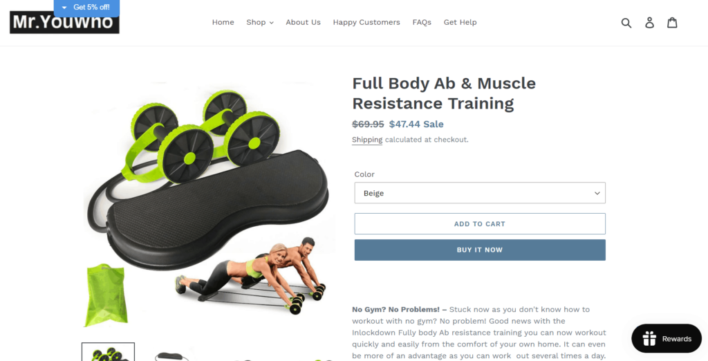 Ab roller product page example