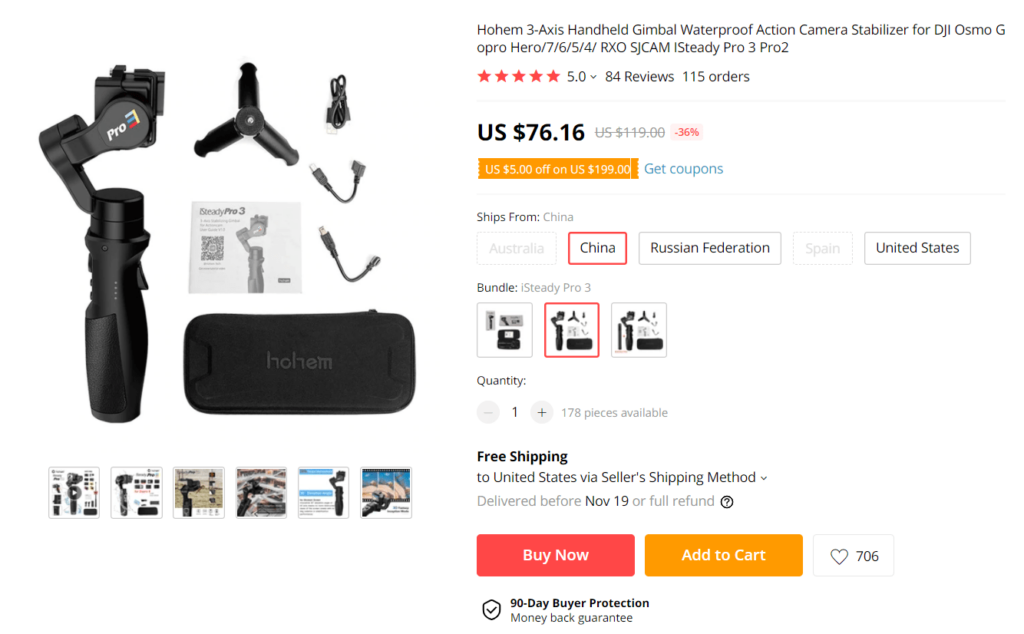 Black Friday product example action camera stabilizer