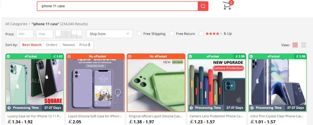 AliExpress search results