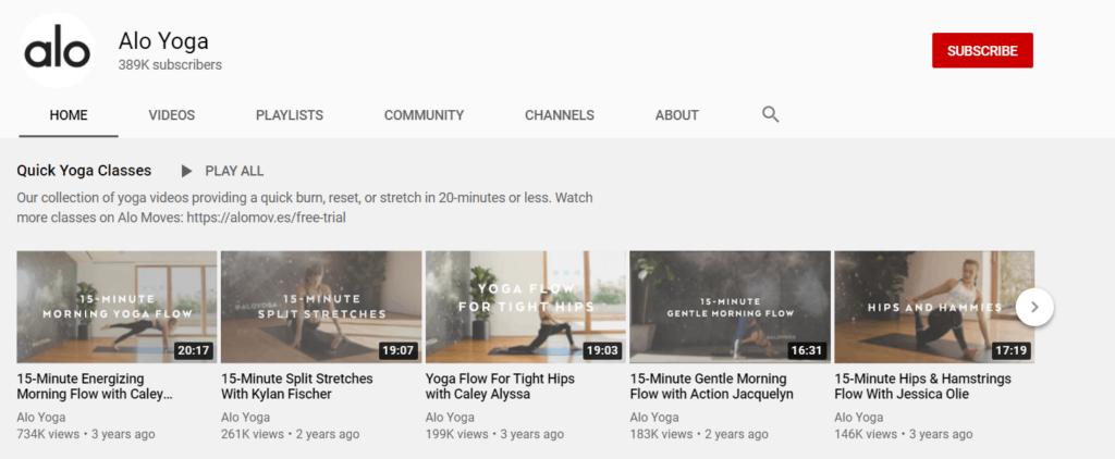 Alo Yoga Youtube channel