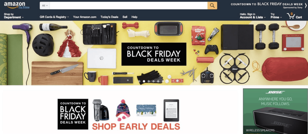 Amazon Black Friday homepage