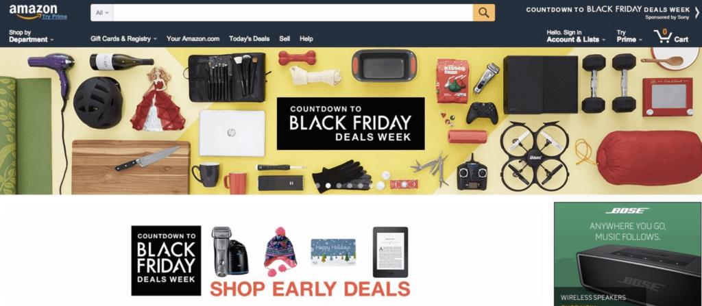 Amazon Black Friday homepage