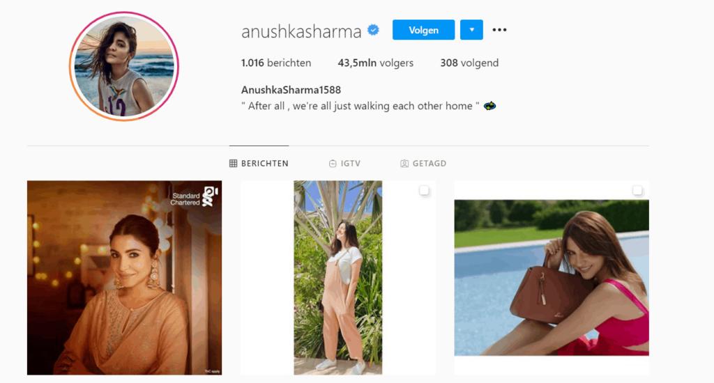 Instagram influencer example