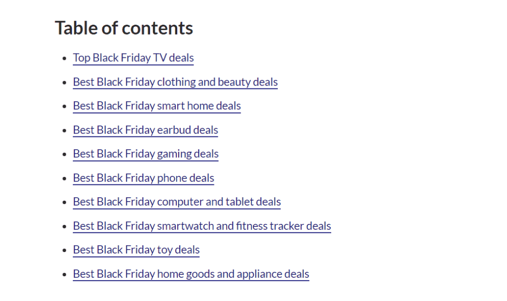 Table of contents best Black Friday deals