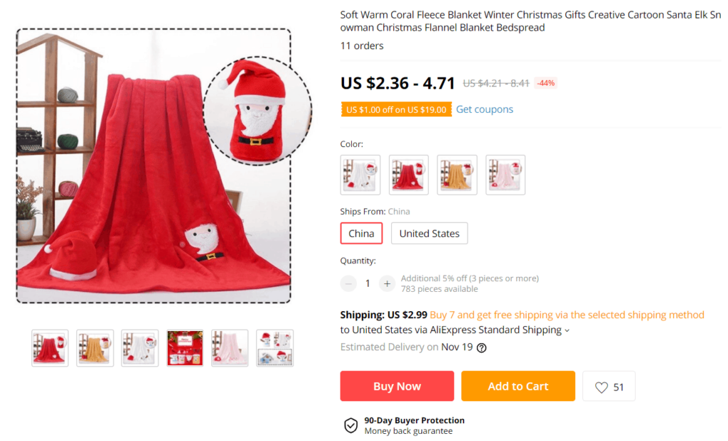 Christmas product example to sell online Christmas foldout blanket