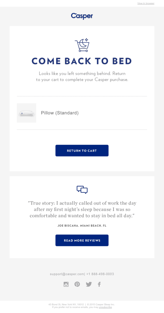 Casper come back to bed email