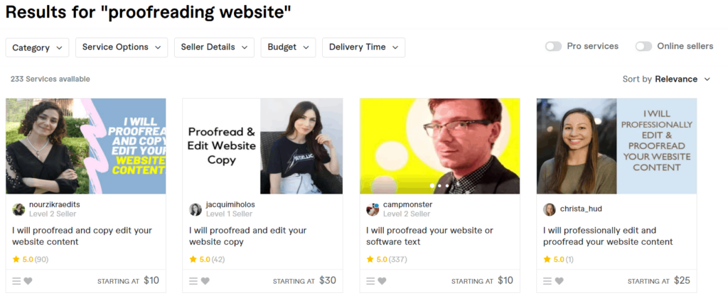 Fiverr dropshipping website proofreading gigs