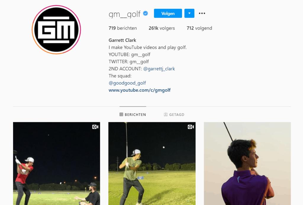 Golf niche Instagram influencer example