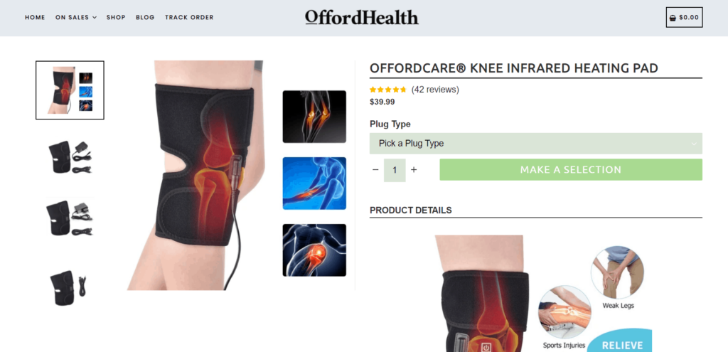 Knee heating band product page example