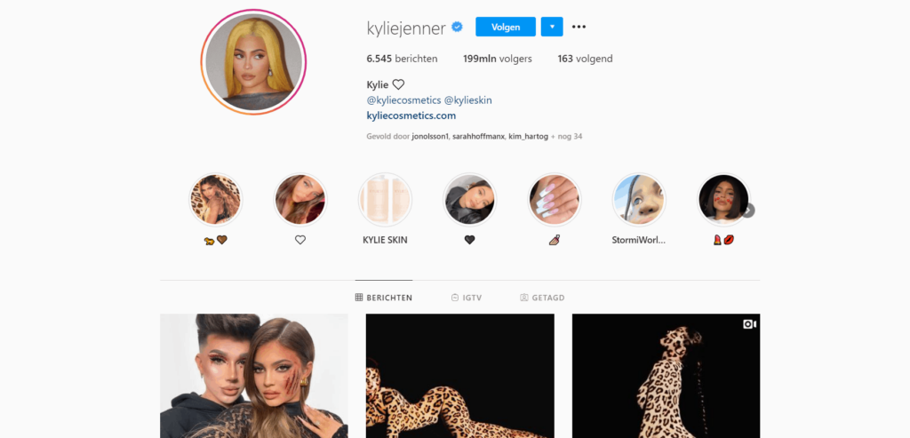 Kylie Jenner Instagram page