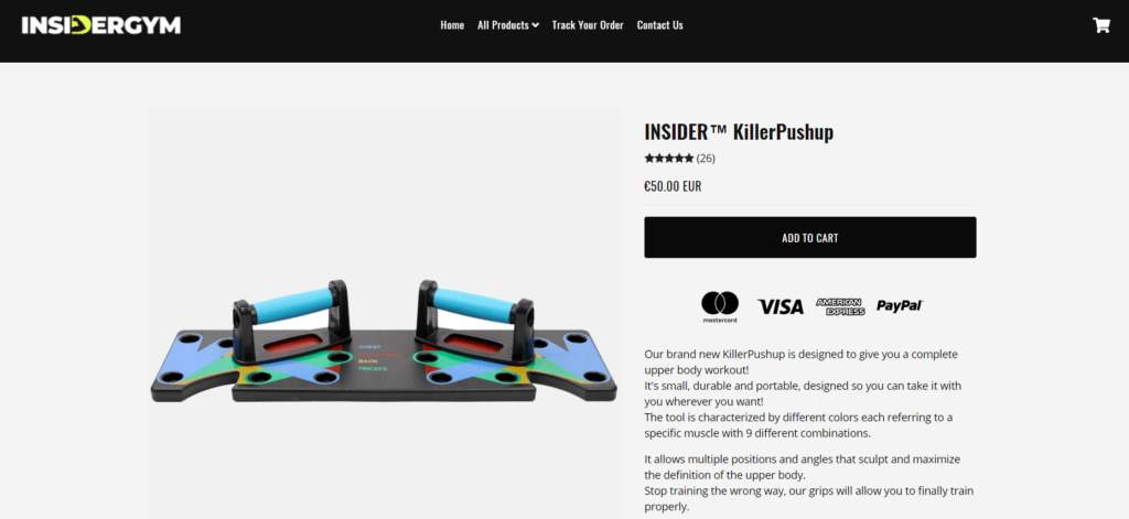 9-in-1 push up rack product page example