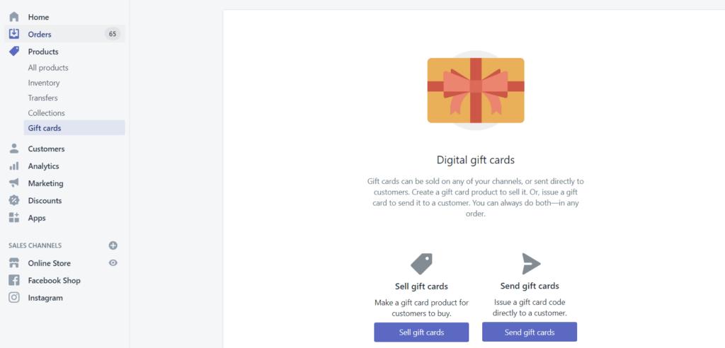 Digital gift cards shopify