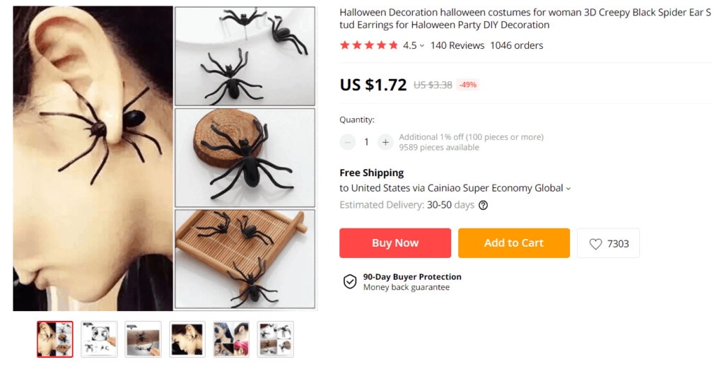 Halloween product example to sell online spider earrings