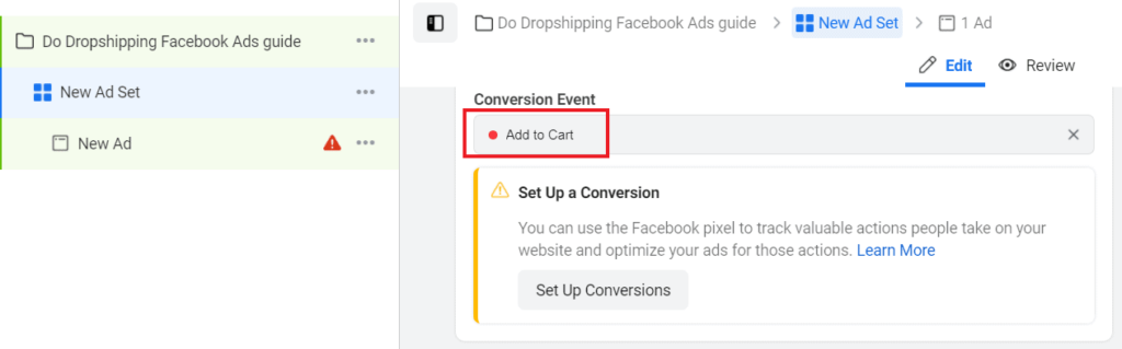 Facebook Ads add to cart conversion event