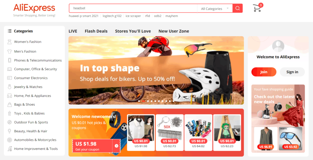 Homepage of AliExpress