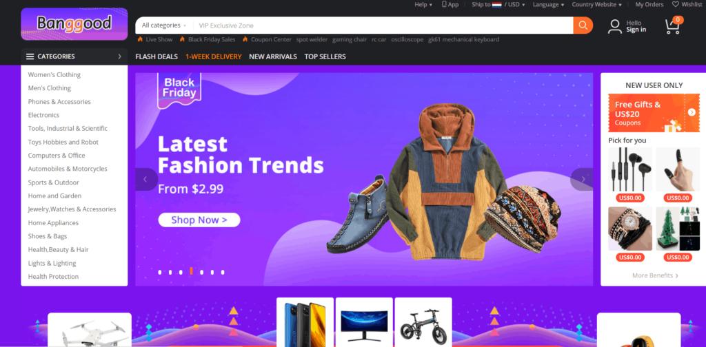 Homepage of Banggood