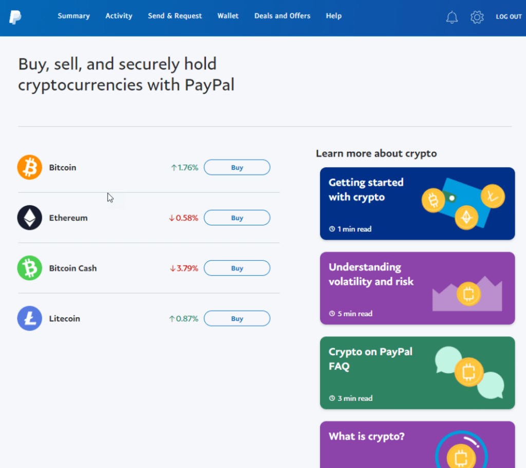 Buy, sell, and hold cryptocurrencies with PayPal