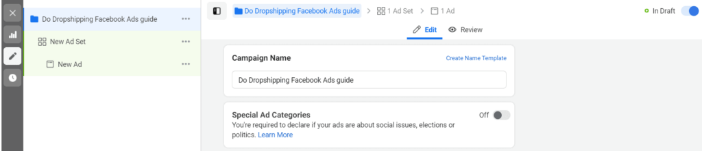 Facebook Ads campaign settings
